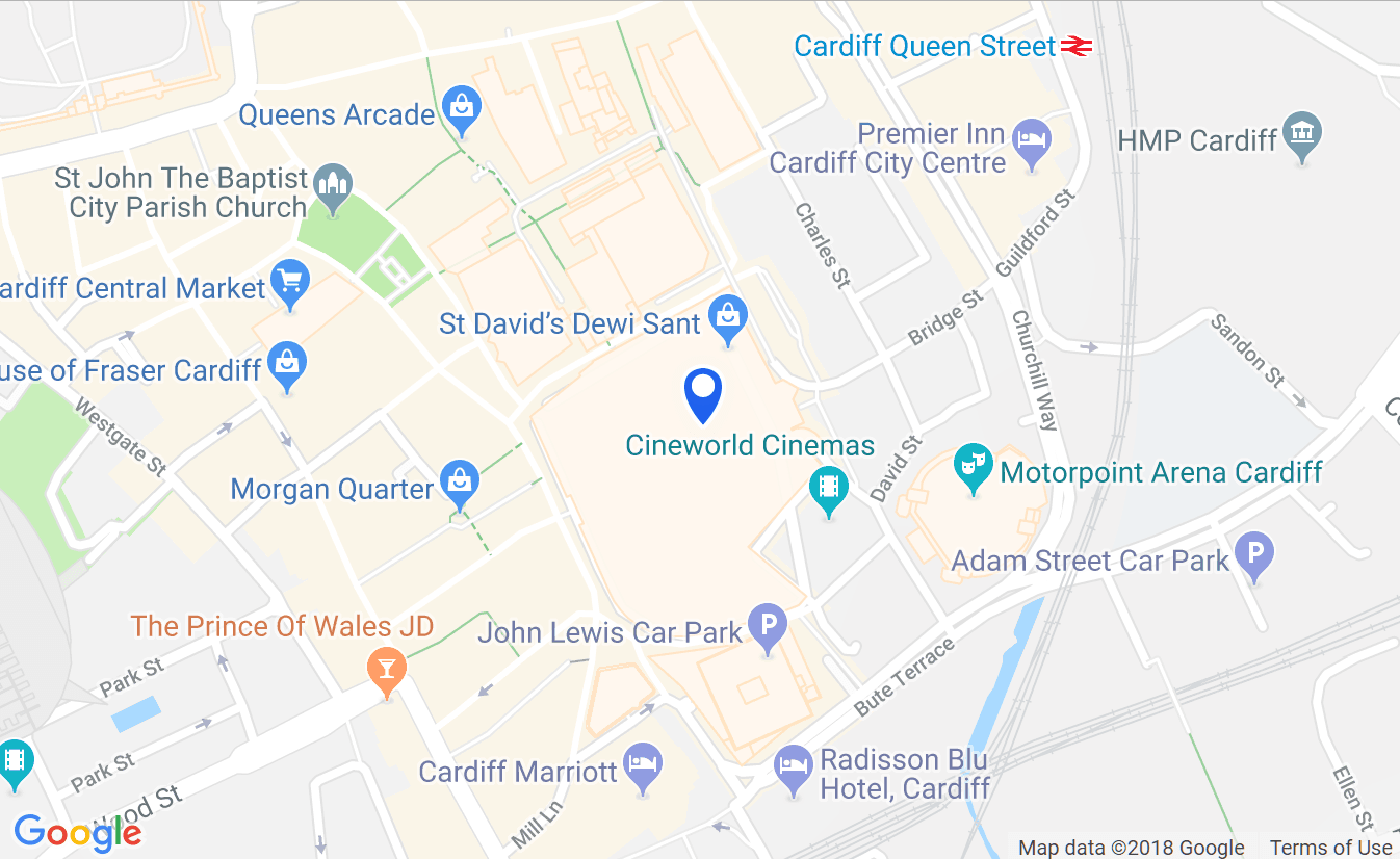 Screenshot of a map showing location of St David's, Cardiff
