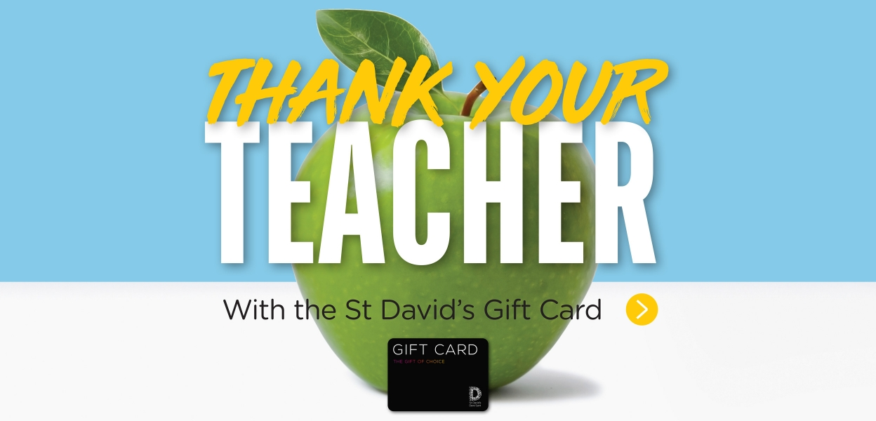thank your teacher with the st david's gift card apple background