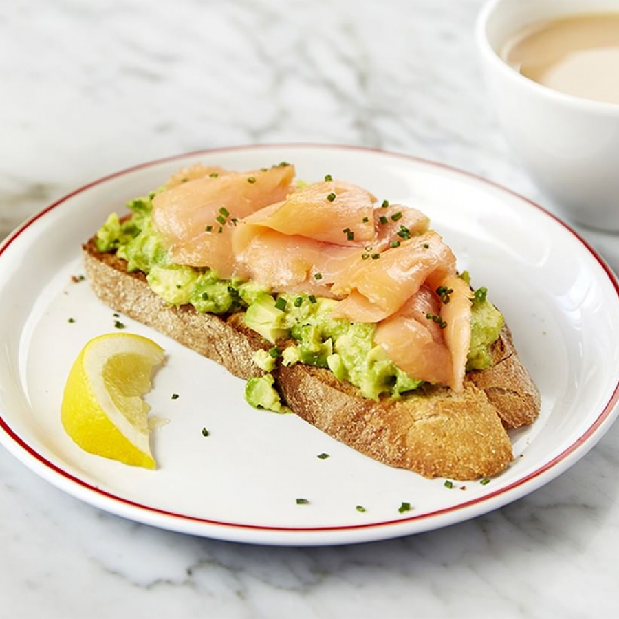 Cafe Rouge's smashed avocado on sourdough toast with smoked salmon