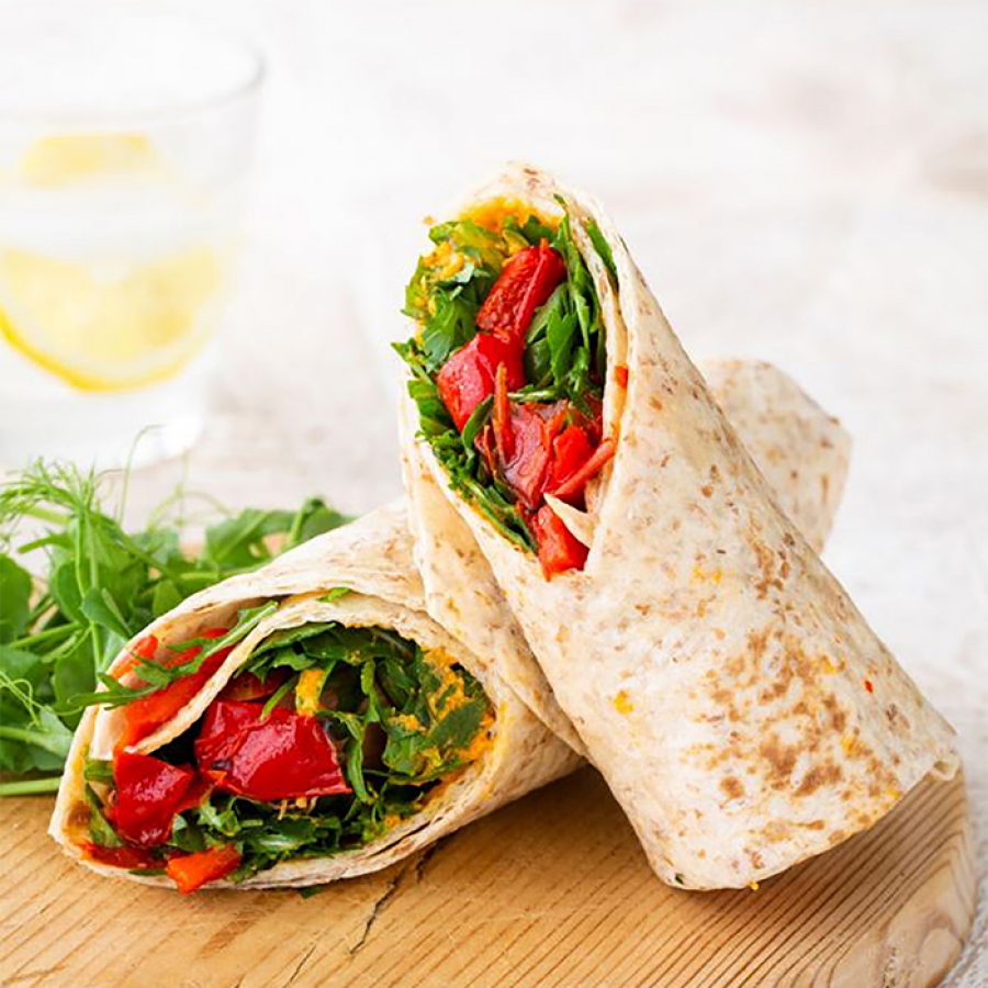 Muffin Break's vegan hummus and red pepper wrap