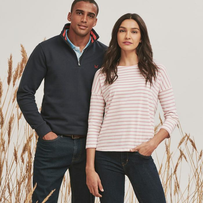 Man and woman in smart casual outdoor clothing