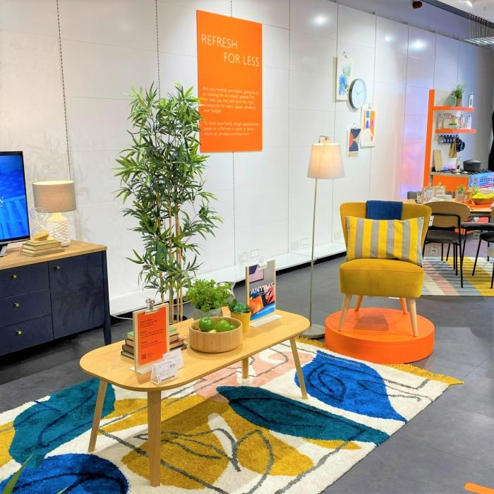 Colourful Mid-Century modern furniture and decor in a store