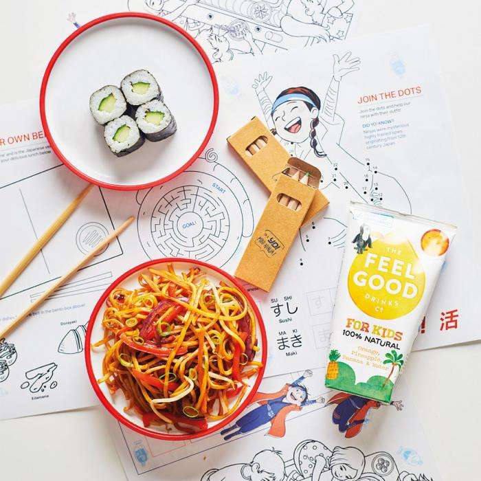 selection of sushi and childrens table cloth