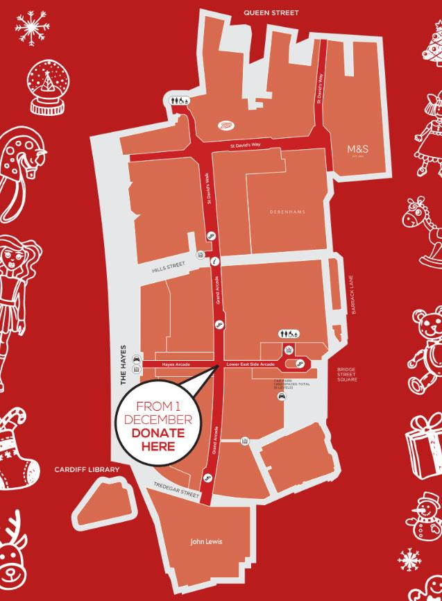 St Davids toy appeal donation map