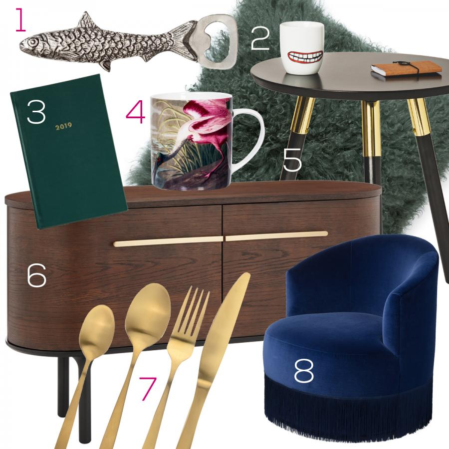 Collage of interior design items available at St David's Cardiff
