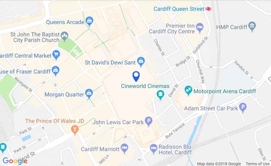 getting to St David's Cardiff - map