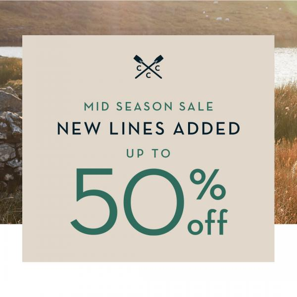 Crew Clothing sale graphic 50% off