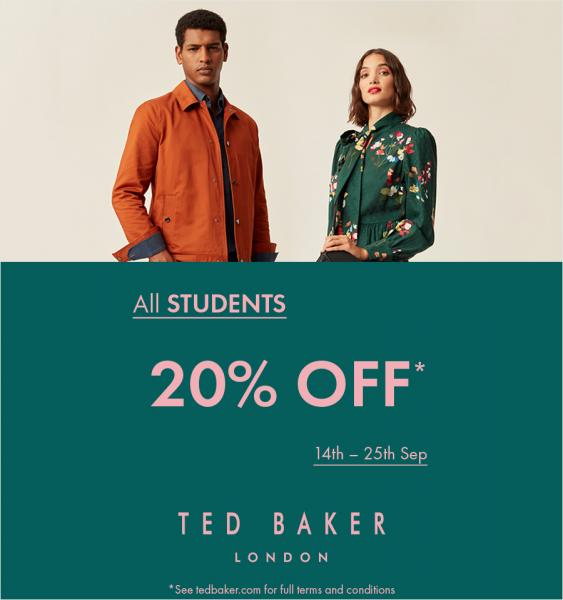 Students can currently scoop 20% off at Ted Baker!